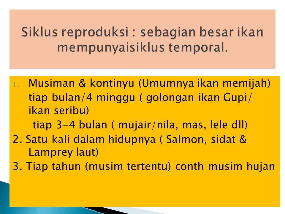 * Internal merupakan ritme internal, yg mengatur sebagian atau seluruh reproduksi musiman : (tingkat kesehatan ikan, kecukupan gizi, genetis, hormon yg berkaitan dg neuro endocrin) lihat bab ttg hormon Reproduksi dipengaruhi oleh kondisi : *Eksternal (suhu, cahaya, bau air) yg mempengaruhi syaraf, kemudian ke CNS (central neuro sistem), ke hypotalamus, Pituitary dan ke gonad