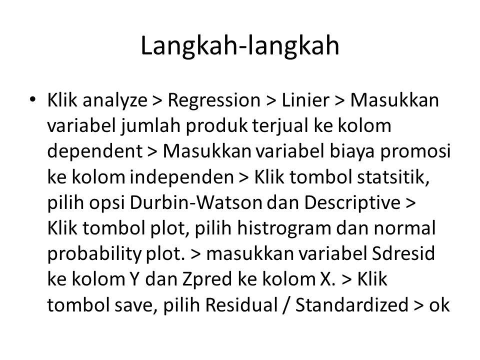 Langkah-langkah Klik analyze > Regression > Linier > Masukkan variabel jumlah produk terjual ke kolom dependent > Masukkan variabel biaya promosi ke k