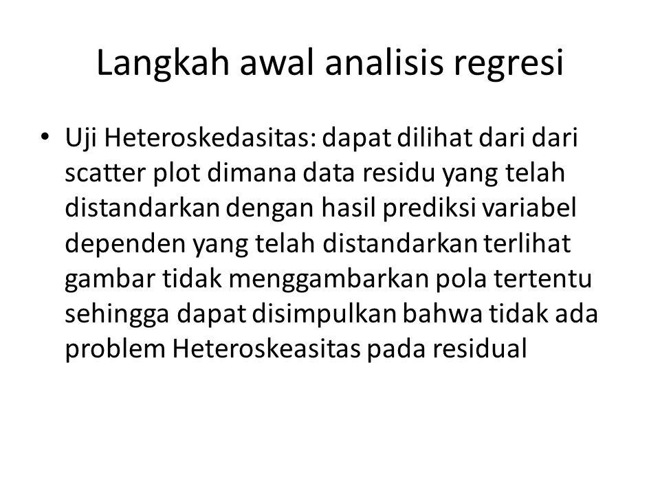Langkah awal analisis regresi Uji Heteroskedasitas: dapat dilihat dari dari scatter plot dimana data residu yang telah distandarkan dengan hasil prediksi variabel dependen yang telah distandarkan terlihat gambar tidak menggambarkan pola tertentu sehingga dapat disimpulkan bahwa tidak ada problem Heteroskeasitas pada residual