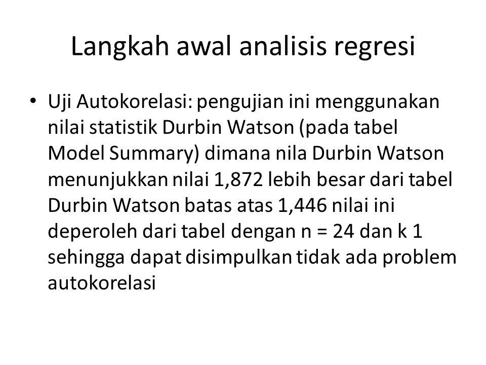 Langkah awal analisis regresi Uji Autokorelasi: pengujian ini menggunakan nilai statistik Durbin Watson (pada tabel Model Summary) dimana nila Durbin Watson menunjukkan nilai 1,872 lebih besar dari tabel Durbin Watson batas atas 1,446 nilai ini deperoleh dari tabel dengan n = 24 dan k 1 sehingga dapat disimpulkan tidak ada problem autokorelasi