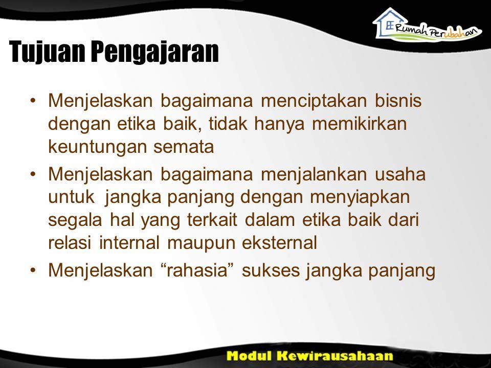 Pendahuluan Menjadi Wirausaha bukan jalan pintas untuk menjadi kaya Menjadi Wirausaha adalah sebuah perjuangan Apa pun yang dilakukan, kewirausahaan tidak dapat dibangun dalam tempo sekejap.