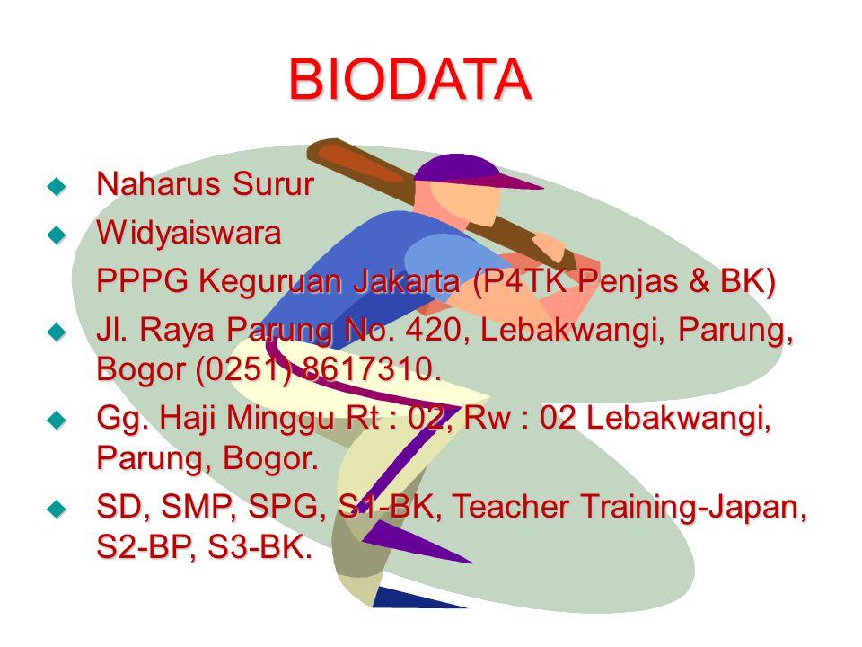 BIODATA  Naharus Surur  Widyaiswara PPPG Keguruan Jakarta (P4TK Penjas & BK)  Jl. Raya Parung No. 420, Lebakwangi, Parung, Bogor (0251) 8617310. 