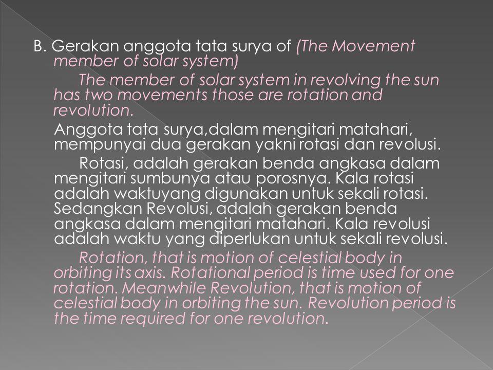 B. Gerakan anggota tata surya of (The Movement member of solar system) The member of solar system in revolving the sun has two movements those are rot