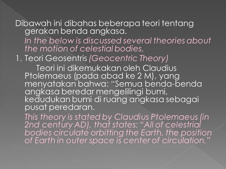 Dibawah ini dibahas beberapa teori tentang gerakan benda angkasa.