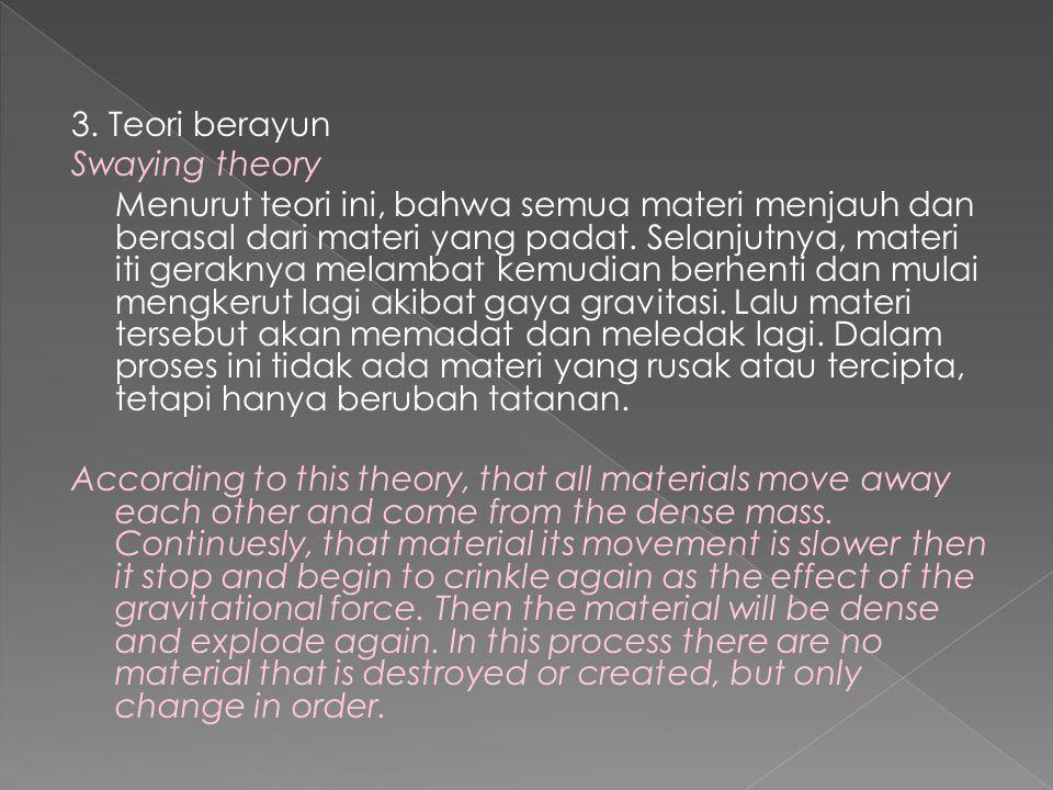 3. Teori berayun Swaying theory Menurut teori ini, bahwa semua materi menjauh dan berasal dari materi yang padat. Selanjutnya, materi iti geraknya mel