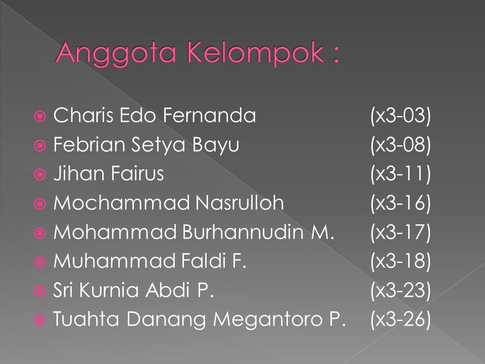  Charis Edo Fernanda(x3-03)  Febrian Setya Bayu(x3-08)  Jihan Fairus(x3-11)  Mochammad Nasrulloh(x3-16)  Mohammad Burhannudin M.(x3-17)  Muhammad Faldi F.(x3-18)  Sri Kurnia Abdi P.(x3-23)  Tuahta Danang Megantoro P.(x3-26)