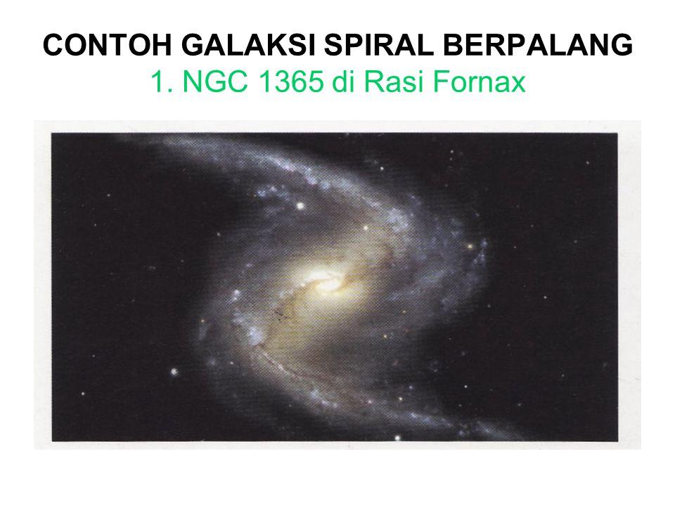 GALAKSI SPIRAL BERPALANG/BATANG Galaksi spiral berpalang ditandai dengan adanya pita bintang-bintang dan materi antarbintang yang berasal dari penggabungan lengan spiral.