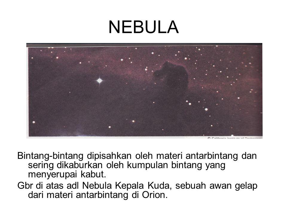 NEBULA Bag sblh selatan Bima sakti menunjukkan adanya nebula gelap Coal Sack.