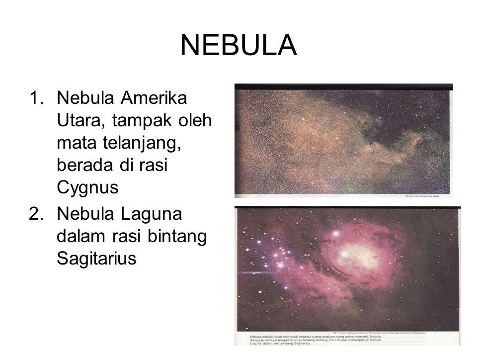 NEBULA Bintang-bintang dipisahkan oleh materi antarbintang dan sering dikaburkan oleh kumpulan bintang yang menyerupai kabut.