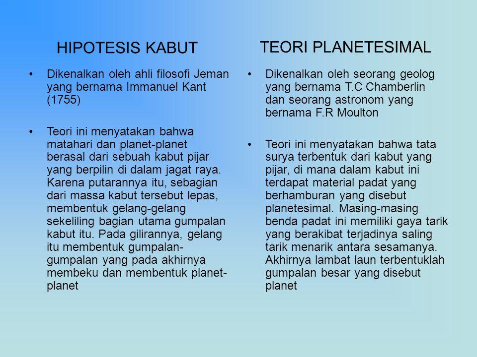 HIPOTESIS KABUT Dikenalkan oleh ahli filosofi Jeman yang bernama Immanuel Kant (1755) Teori ini menyatakan bahwa matahari dan planet-planet berasal da