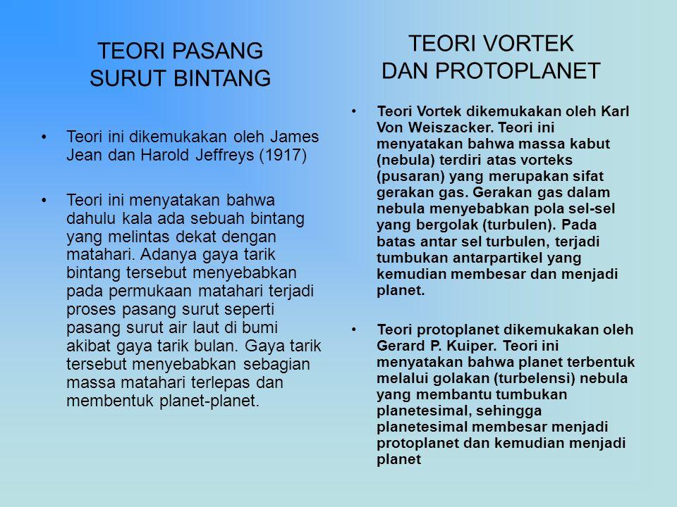 TEORI PASANG SURUT BINTANG Teori ini dikemukakan oleh James Jean dan Harold Jeffreys (1917) Teori ini menyatakan bahwa dahulu kala ada sebuah bintang