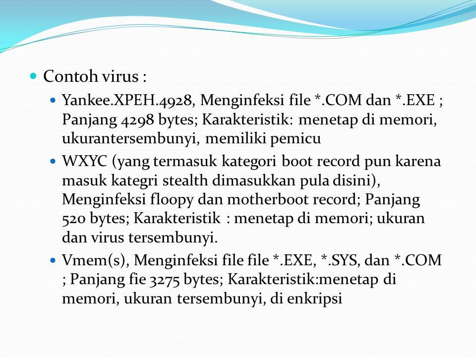 Contoh virus : Yankee.XPEH.4928, Menginfeksi file *.COM dan *.EXE ; Panjang 4298 bytes; Karakteristik: menetap di memori, ukurantersembunyi, memiliki