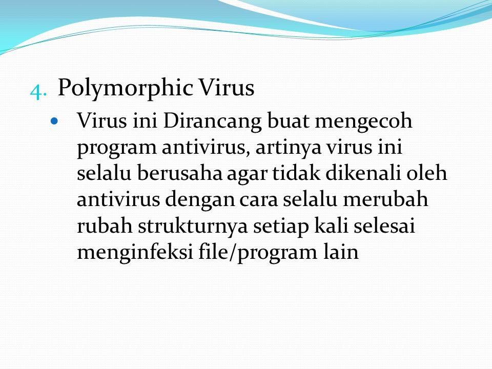 4. Polymorphic Virus Virus ini Dirancang buat mengecoh program antivirus, artinya virus ini selalu berusaha agar tidak dikenali oleh antivirus dengan