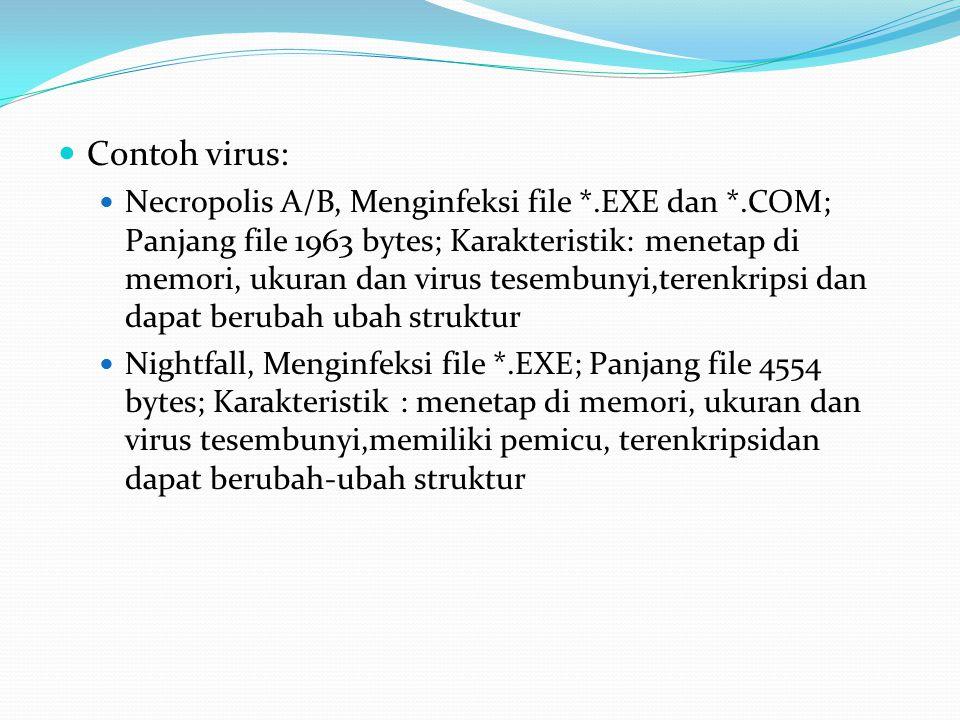 Contoh virus: Necropolis A/B, Menginfeksi file *.EXE dan *.COM; Panjang file 1963 bytes; Karakteristik: menetap di memori, ukuran dan virus tesembunyi