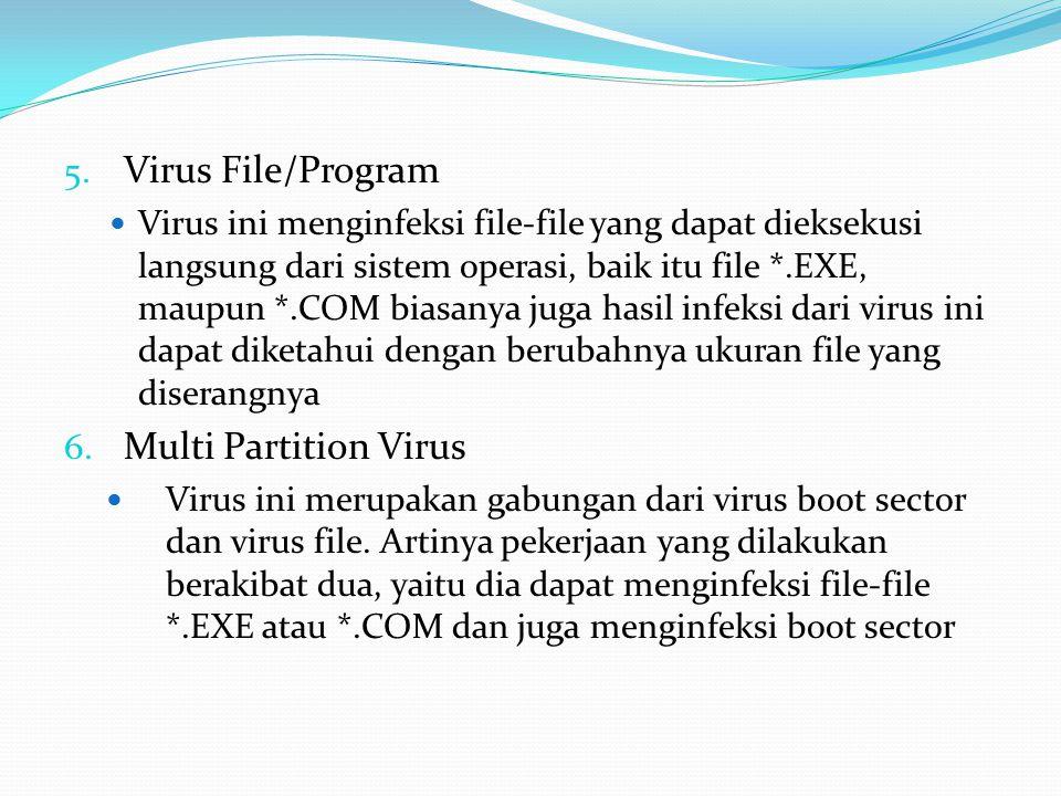 5. Virus File/Program Virus ini menginfeksi file-file yang dapat dieksekusi langsung dari sistem operasi, baik itu file *.EXE, maupun *.COM biasanya j