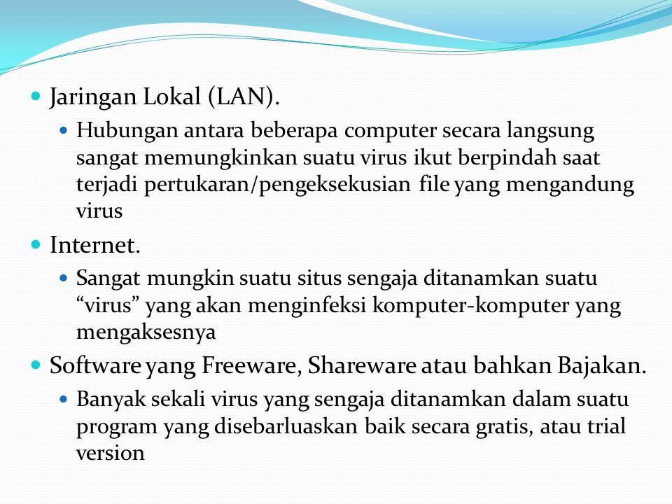 Jaringan Lokal (LAN). Hubungan antara beberapa computer secara langsung sangat memungkinkan suatu virus ikut berpindah saat terjadi pertukaran/pengeks