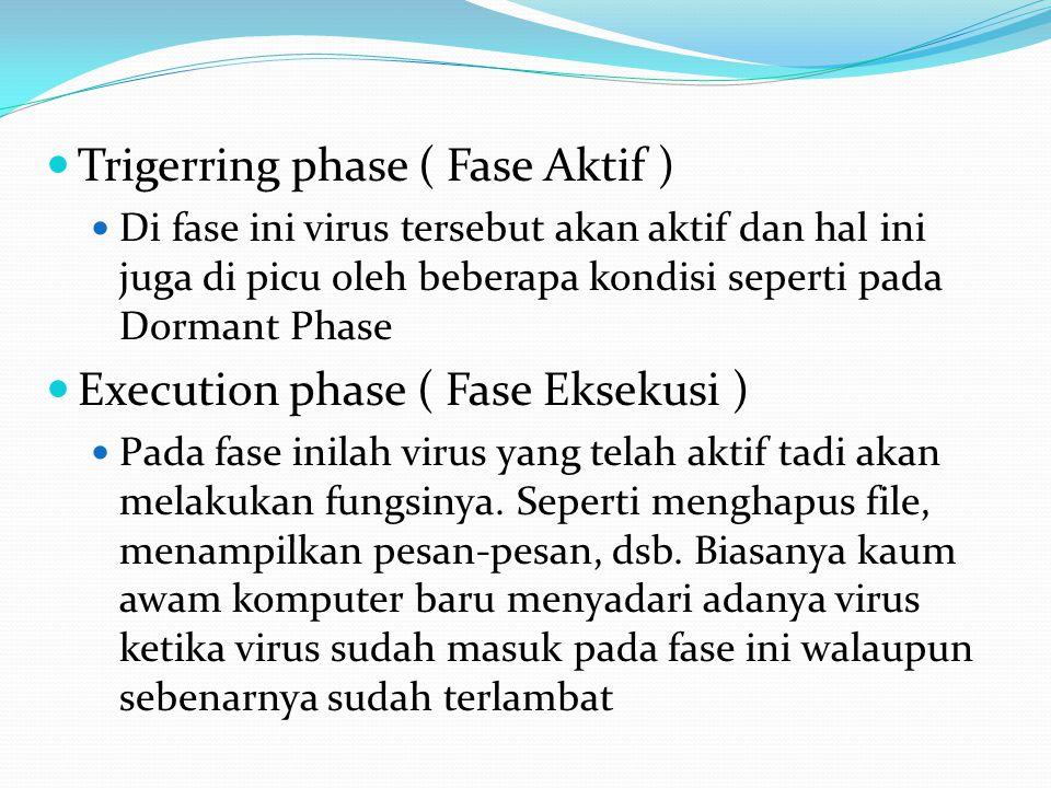 Trigerring phase ( Fase Aktif ) Di fase ini virus tersebut akan aktif dan hal ini juga di picu oleh beberapa kondisi seperti pada Dormant Phase Execut