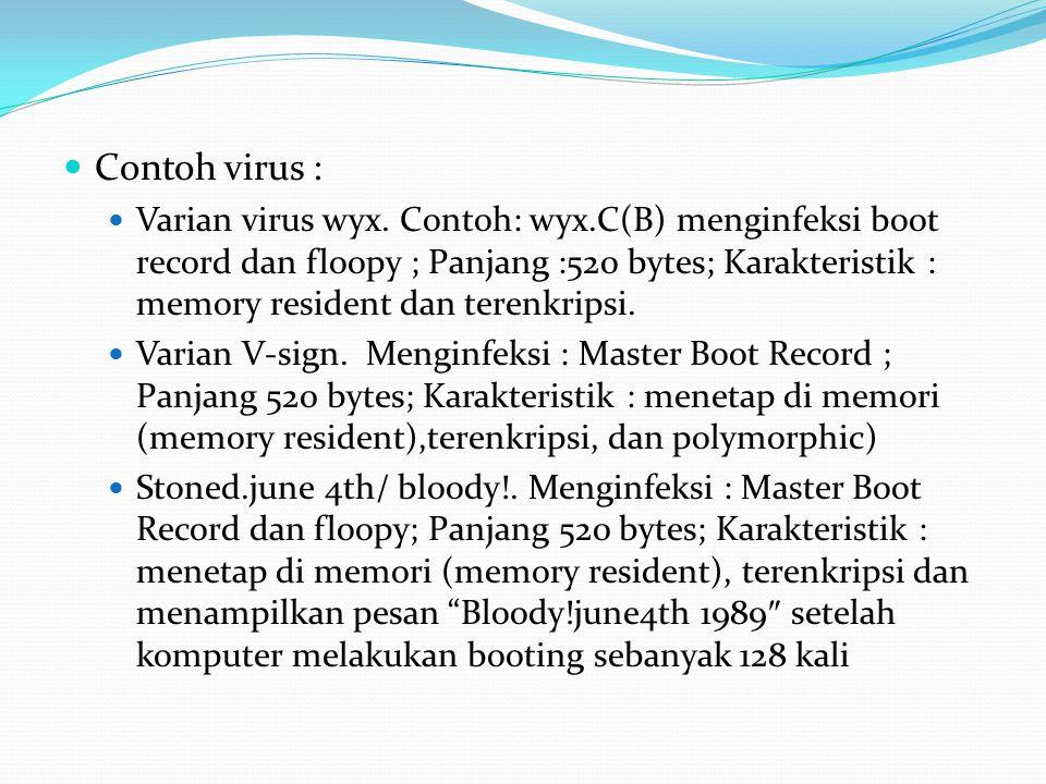 Contoh virus : Varian virus wyx. Contoh: wyx.C(B) menginfeksi boot record dan floopy ; Panjang :520 bytes; Karakteristik : memory resident dan terenkr