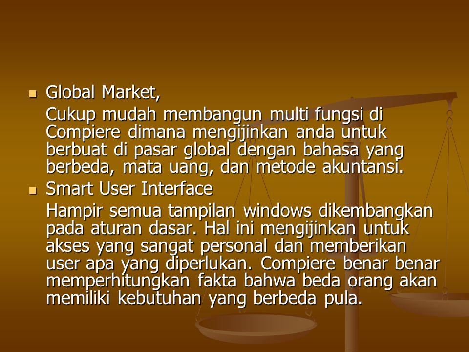 Global Market, Global Market, Cukup mudah membangun multi fungsi di Compiere dimana mengijinkan anda untuk berbuat di pasar global dengan bahasa yang