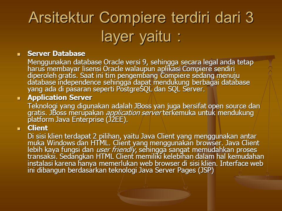 Arsitektur Compiere terdiri dari 3 layer yaitu : Server Database Server Database Menggunakan database Oracle versi 9, sehingga secara legal anda tetap