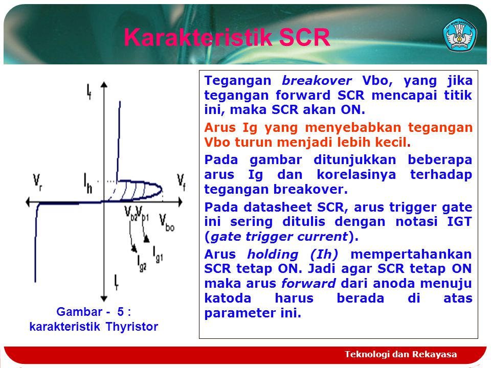 Teknologi dan Rekayasa Karakteristik SCR Gambar - 5 : karakteristik Thyristor Tegangan breakover Vbo, yang jika tegangan forward SCR mencapai titik in