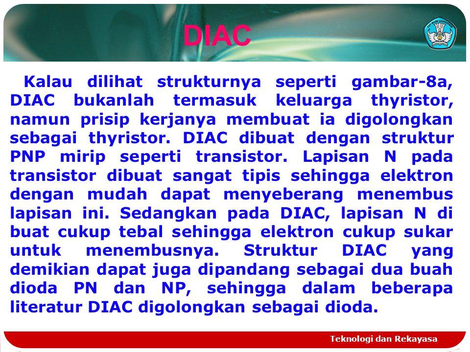 Teknologi dan Rekayasa DIAC Kalau dilihat strukturnya seperti gambar-8a, DIAC bukanlah termasuk keluarga thyristor, namun prisip kerjanya membuat ia d