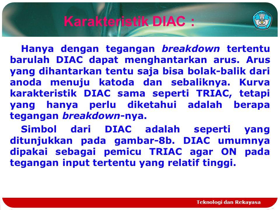 Teknologi dan Rekayasa Hanya dengan tegangan breakdown tertentu barulah DIAC dapat menghantarkan arus. Arus yang dihantarkan tentu saja bisa bolak-bal