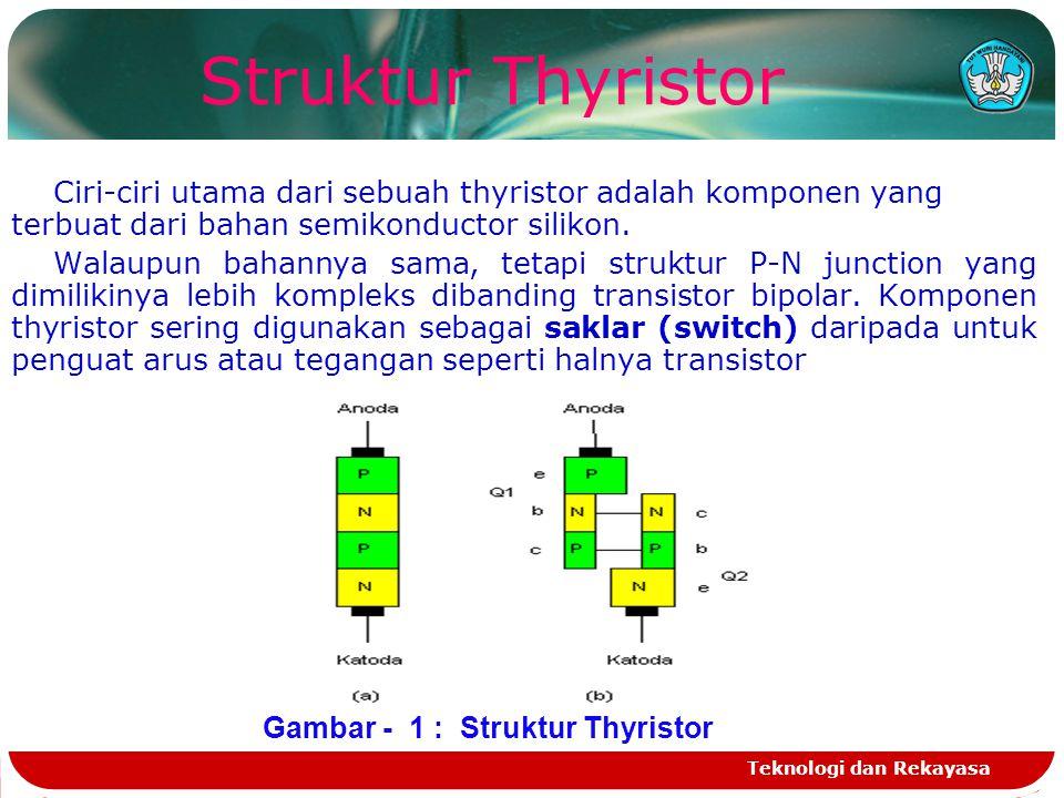 Teknologi dan Rekayasa Ciri-ciri utama dari sebuah thyristor adalah komponen yang terbuat dari bahan semikonductor silikon. Walaupun bahannya sama, te