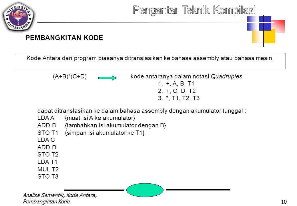 Analisa Semantik, Kode Antara, Pembangkitan Kode9 KODE ANTARA Quadruples Notation Format instruksi Quadruples hasil adalah temporary yang bisa ditempatkan pada memory atau register contoh instruksi: A:=D*C+B/E Bila dibuat dalam Kode Antara : 1.