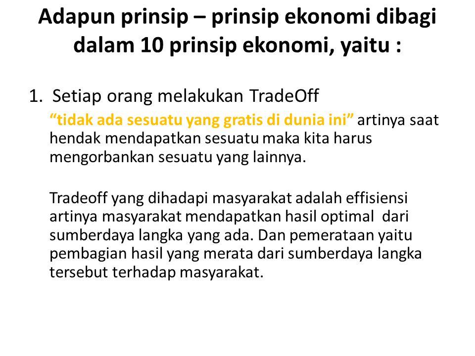 """Adapun prinsip – prinsip ekonomi dibagi dalam 10 prinsip ekonomi, yaitu : 1. Setiap orang melakukan TradeOff """"tidak ada sesuatu yang gratis di dunia i"""