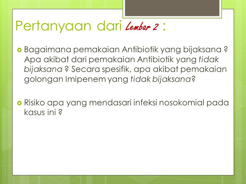 Pertanyaan dari Lembar 2 :  Bagaimana pemakaian Antibiotik yang bijaksana ? Apa akibat dari pemakaian Antibiotik yang tidak bijaksana ? Secara spesif