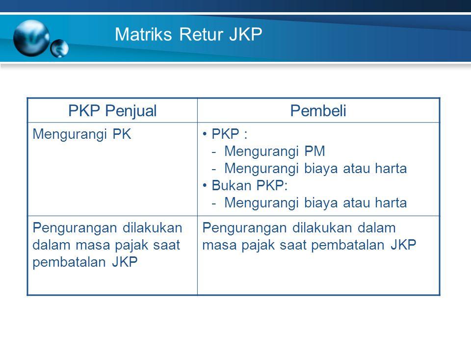 Matriks Retur JKP PKP PenjualPembeli Mengurangi PKPKP : - Mengurangi PM - Mengurangi biaya atau harta Bukan PKP: - Mengurangi biaya atau harta Pengura