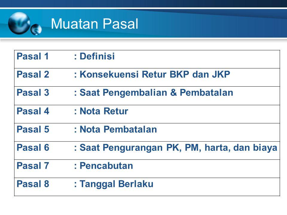 Muatan Pasal Pasal 1: Definisi Pasal 2: Konsekuensi Retur BKP dan JKP Pasal 3: Saat Pengembalian & Pembatalan Pasal 4: Nota Retur Pasal 5: Nota Pembat