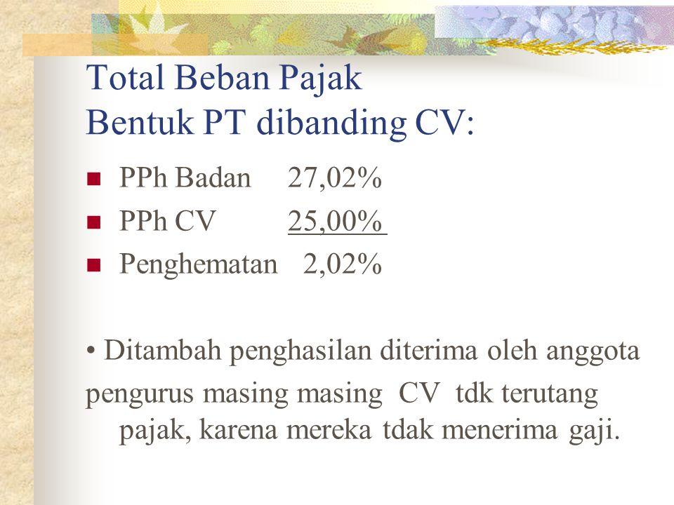Total Beban Pajak Bentuk PT dibanding CV: PPh Badan 27,02% PPh CV 25,00% Penghematan 2,02% Ditambah penghasilan diterima oleh anggota pengurus masing