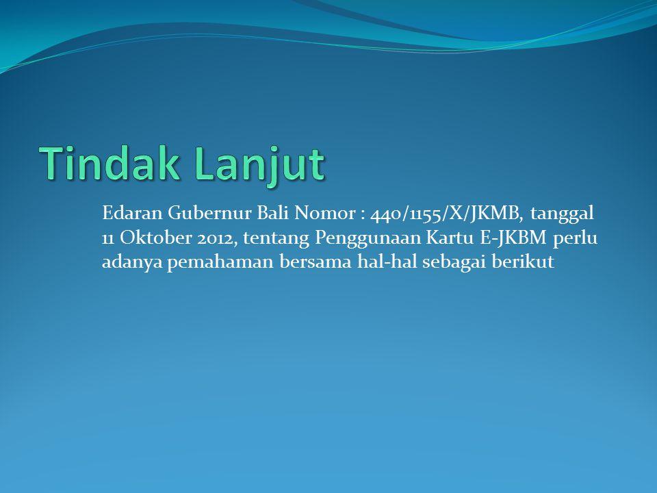 Edaran Gubernur Bali Nomor : 440/1155/X/JKMB, tanggal 11 Oktober 2012, tentang Penggunaan Kartu E-JKBM perlu adanya pemahaman bersama hal-hal sebagai