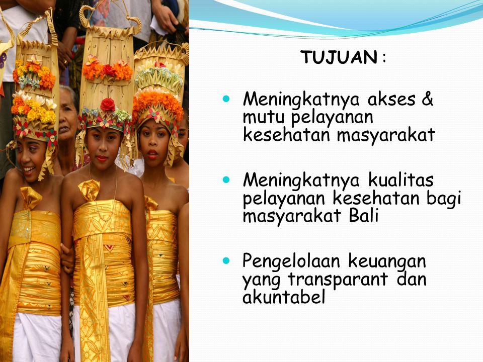 TUJUAN : Meningkatnya akses & mutu pelayanan kesehatan masyarakat Meningkatnya kualitas pelayanan kesehatan bagi masyarakat Bali Pengelolaan keuangan
