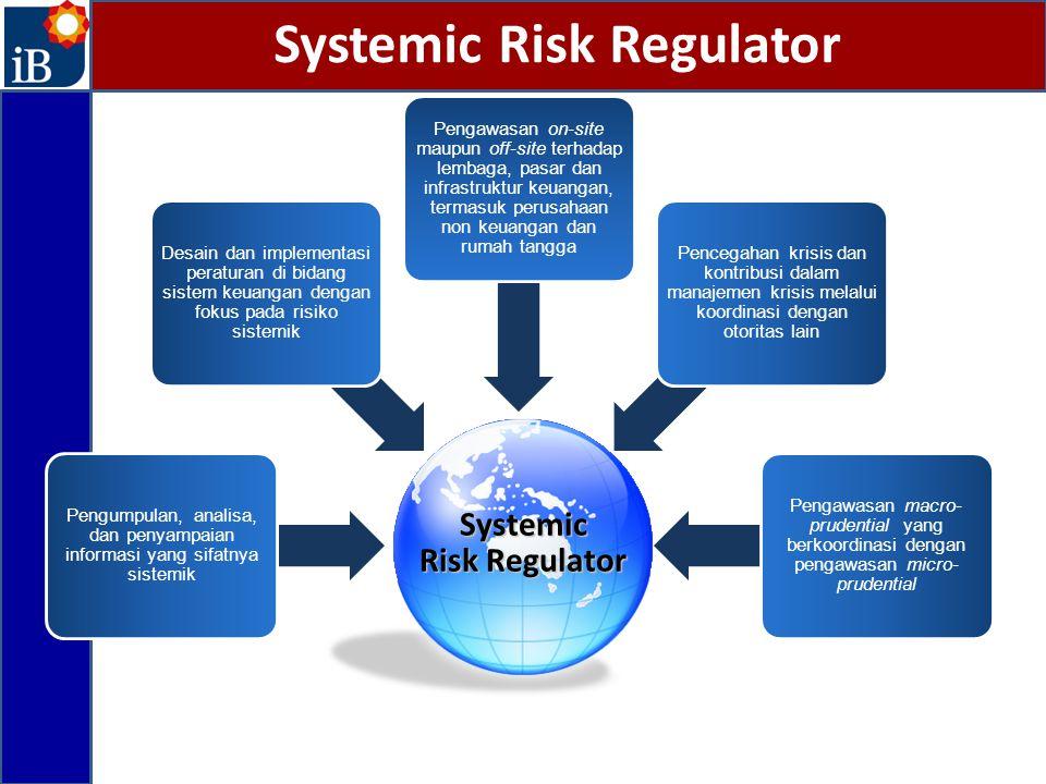 Systemic Risk Regulator Pengumpulan, analisa, dan penyampaian informasi yang sifatnya sistemik Desain dan implementasi peraturan di bidang sistem keua