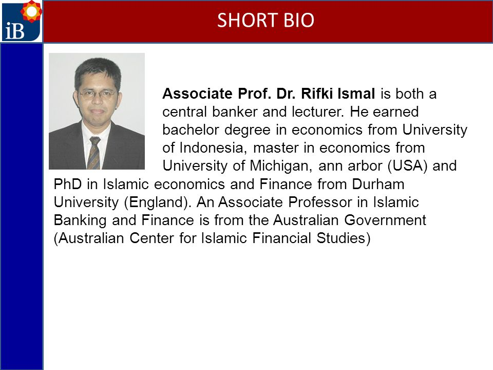 Associate Prof.Dr. Rifki Ismal is both a central banker and lecturer.