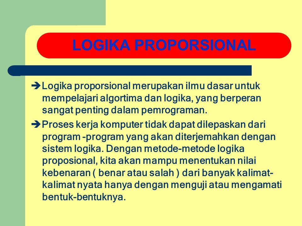  Logika proporsional merupakan ilmu dasar untuk mempelajari algortima dan logika, yang berperan sangat penting dalam pemrograman.