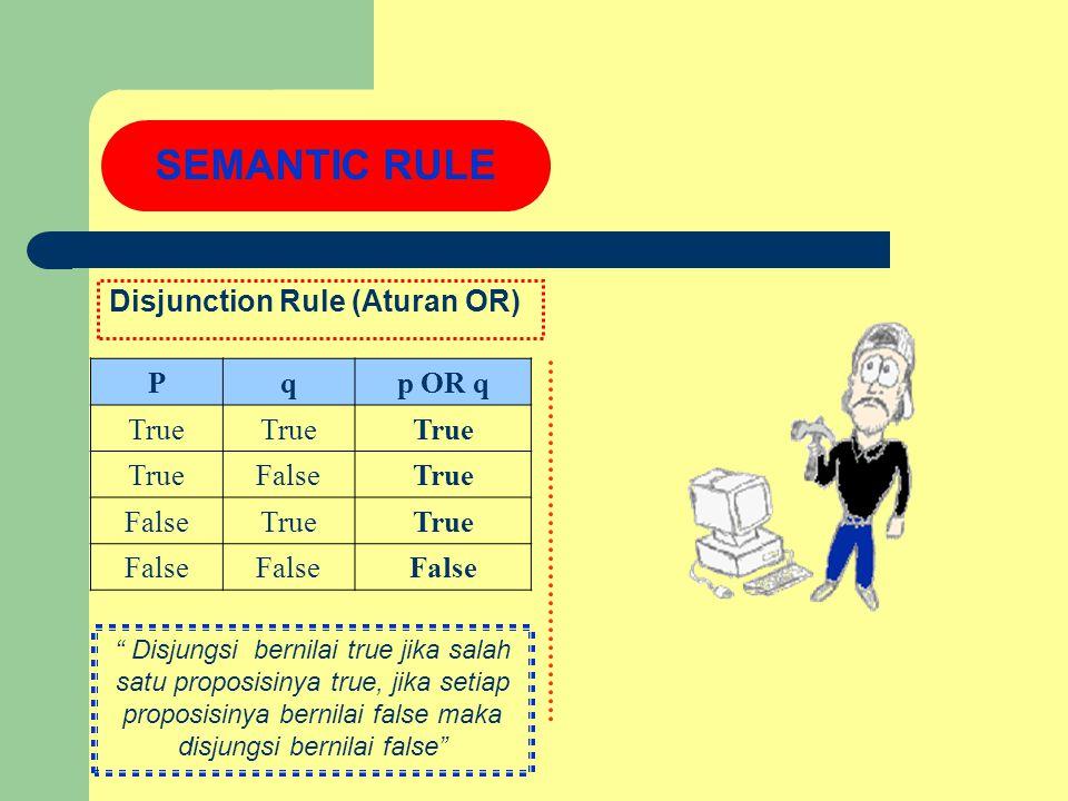 Disjunction Rule (Aturan OR) SEMANTIC RULE Pqp OR q True FalseTrue FalseTrue False Disjungsi bernilai true jika salah satu proposisinya true, jika setiap proposisinya bernilai false maka disjungsi bernilai false
