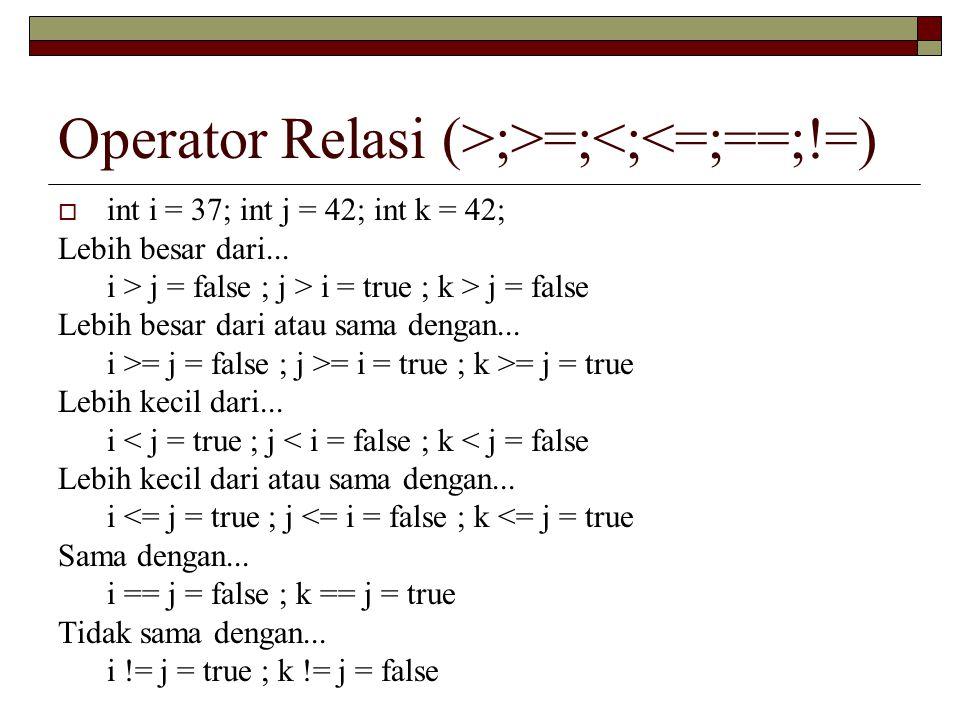 Operator Relasi (>;>=;<;<=;==;!=)  int i = 37; int j = 42; int k = 42; Lebih besar dari...