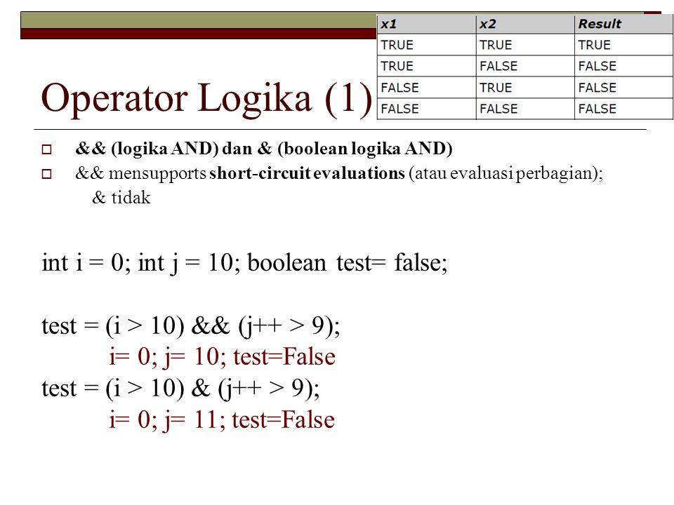 Operator Logika (1)  && (logika AND) dan & (boolean logika AND)  && mensupports short-circuit evaluations (atau evaluasi perbagian); & tidak int i = 0; int j = 10; boolean test= false; test = (i > 10) && (j++ > 9); i= 0; j= 10; test=False test = (i > 10) & (j++ > 9); i= 0; j= 11; test=False