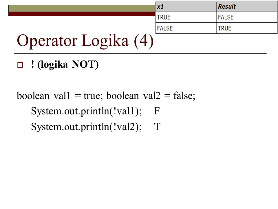 Operator Logika (4)  ! (logika NOT) boolean val1 = true; boolean val2 = false; System.out.println(!val1); F System.out.println(!val2); T
