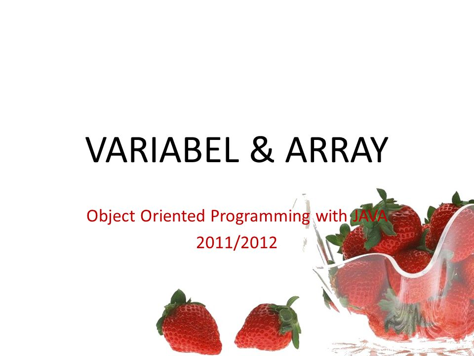 VARIABEL & ARRAY Object Oriented Programming with JAVA 2011/2012