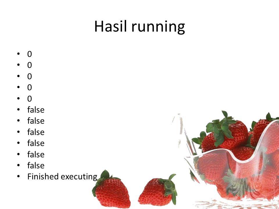 Hasil running 0 false Finished executing