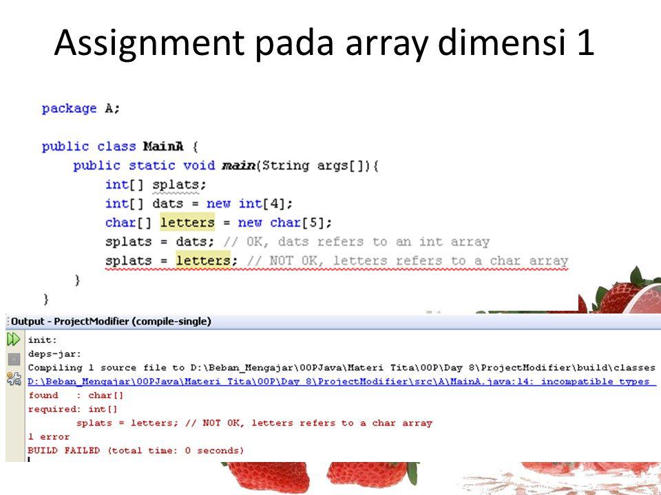 Assignment pada array dimensi 1