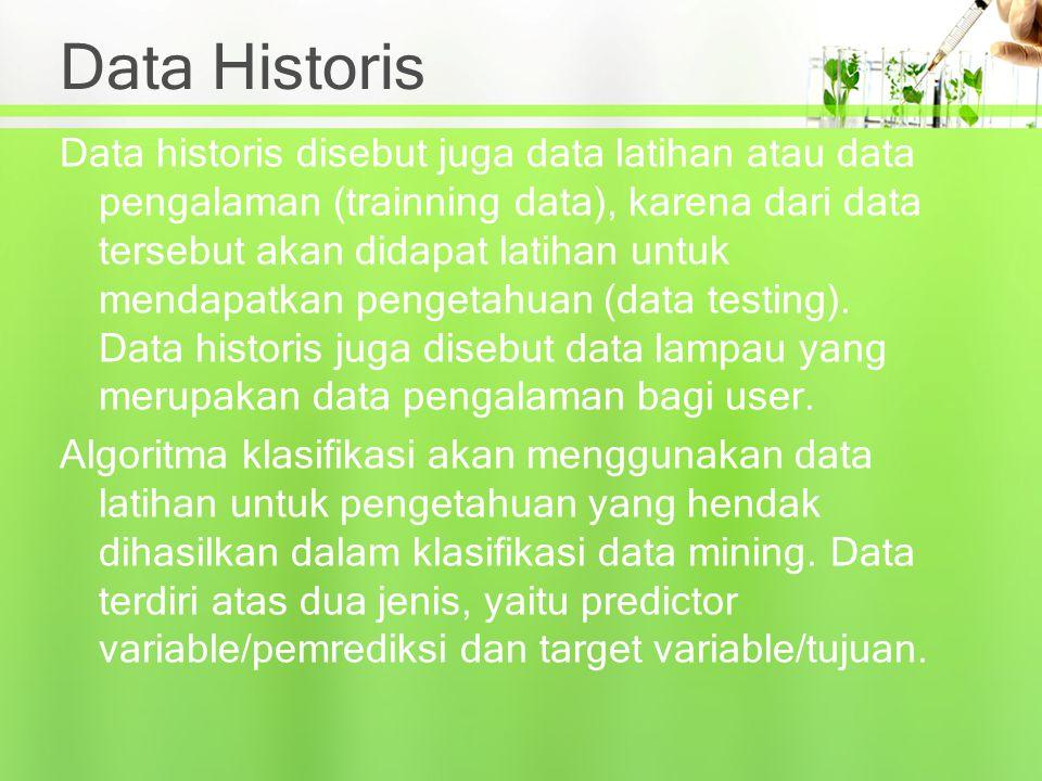 Data Historis Data historis disebut juga data latihan atau data pengalaman (trainning data), karena dari data tersebut akan didapat latihan untuk mend