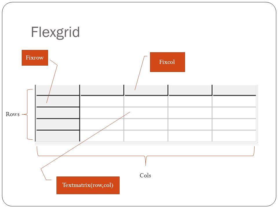 Flexgrid Fixrow Fixcol Rows Cols Textmatrix(row,col)