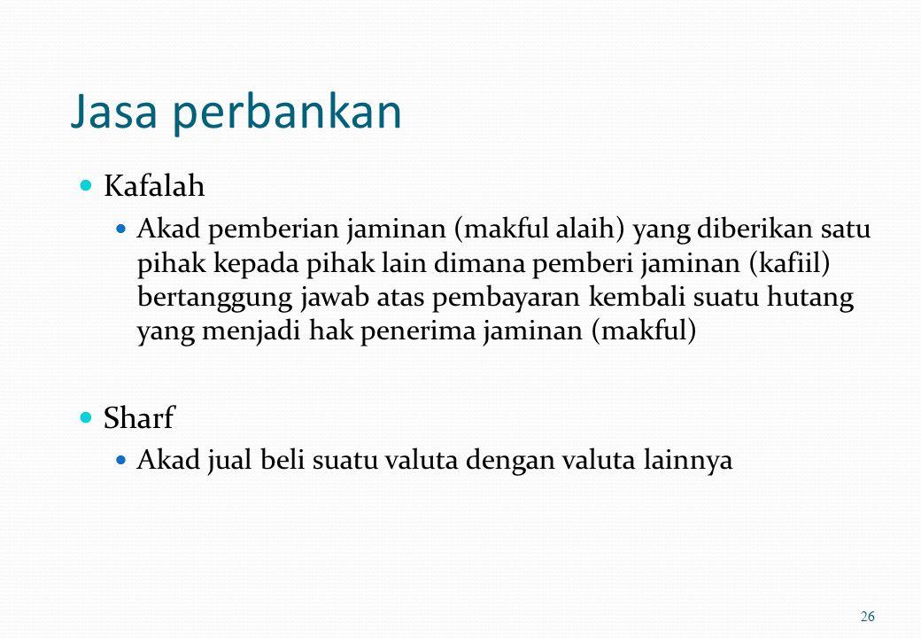 Jasa perbankan Rahn Akad penyerahan barang / harta (marhun) dari nasabah (rahin) kepada bank (murtahin) sebagai jaminan sebagian atau seluruh hutang W