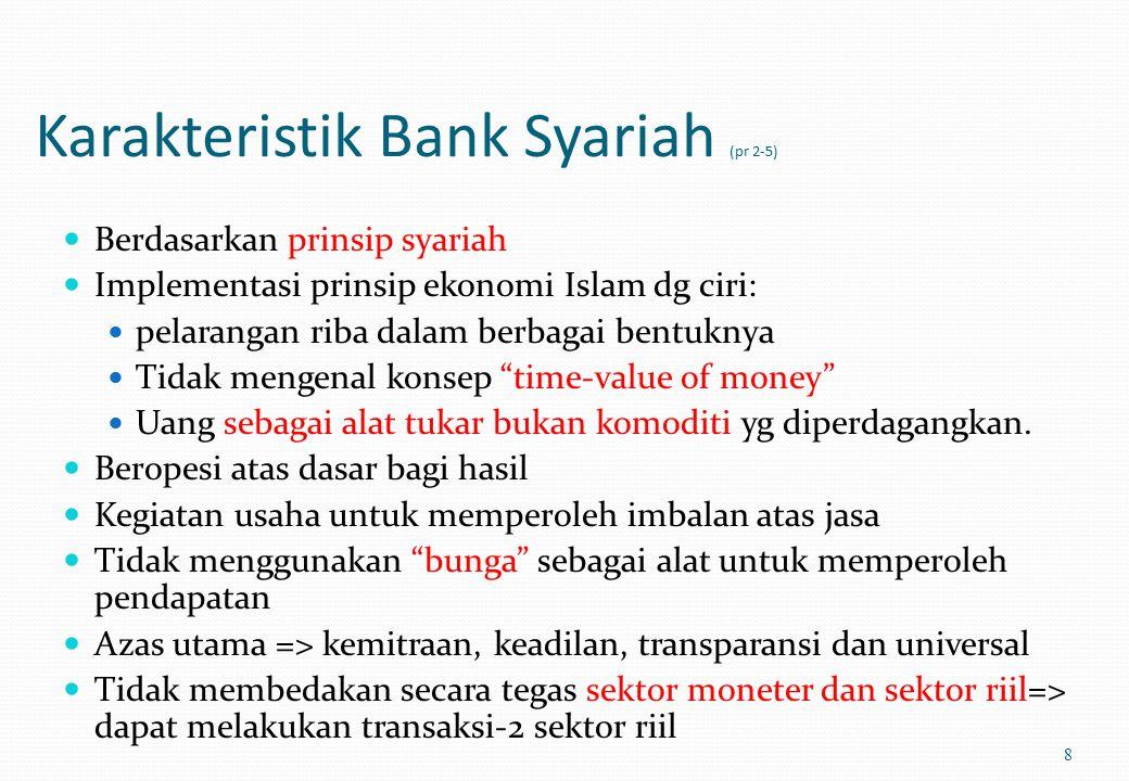 Karakteristik Bank Syariah (pr 2-5) Berdasarkan prinsip syariah Implementasi prinsip ekonomi Islam dg ciri: pelarangan riba dalam berbagai bentuknya Tidak mengenal konsep time-value of money Uang sebagai alat tukar bukan komoditi yg diperdagangkan.